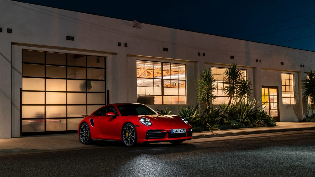 The 2021 Porsche 911 Turbo S In Guards Red Looks Juicy Light-Painted For Night Photos
