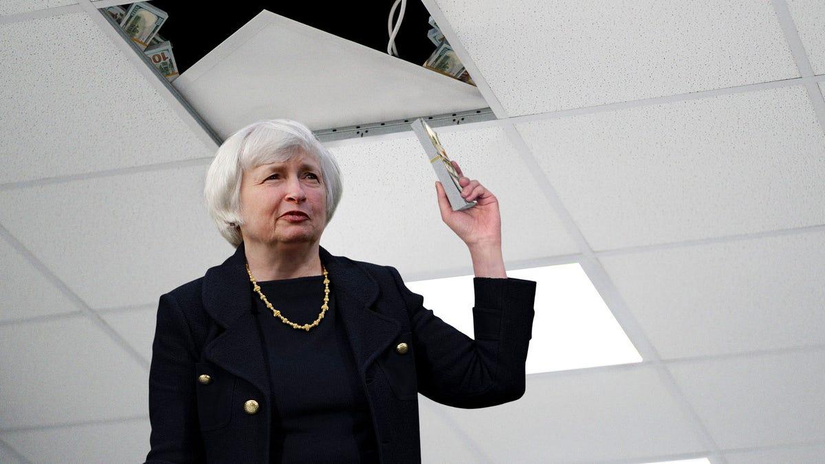 Paranoid Janet Yellen Hides Entire U.S. Money Supply In Treasury Department Drop Ceiling