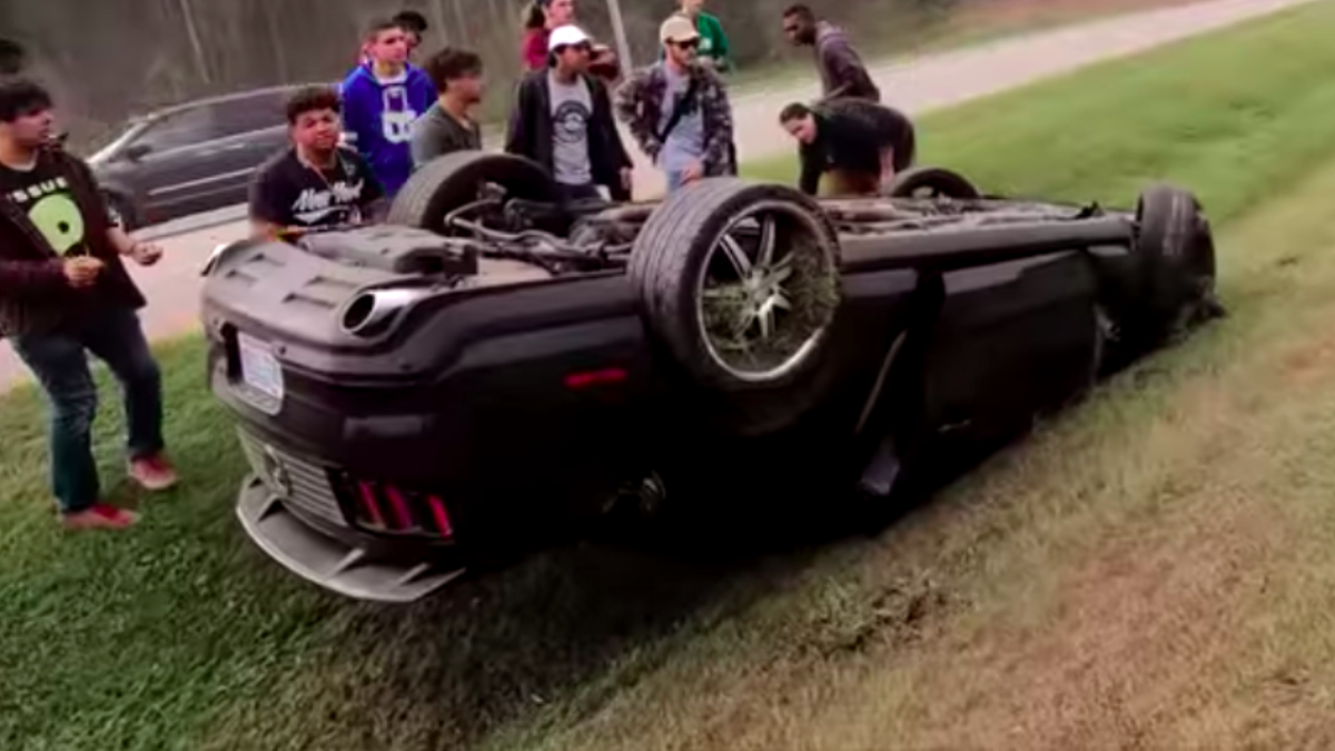 Another Ford Mustang Crashes Peeling Out Of A Cars And Coffee And It's Not Pretty