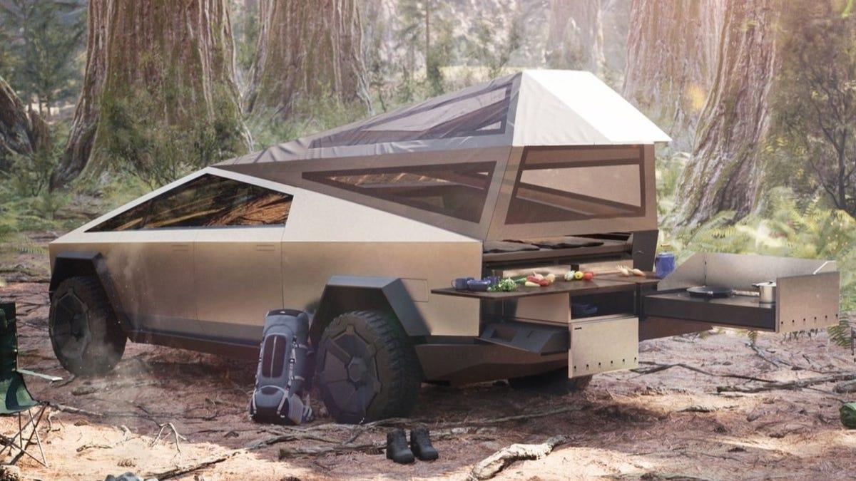 The Tesla Cybertruck S Tent Is The Best Car Tent Since The 2001 Pontiac Aztek