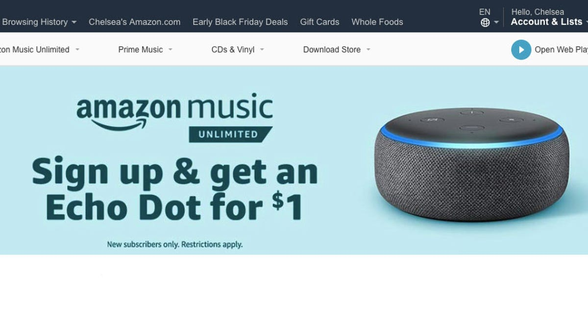 Get a $1 Echo Dot When You Sign Up For an Amazon Music Unlimited Free Trial