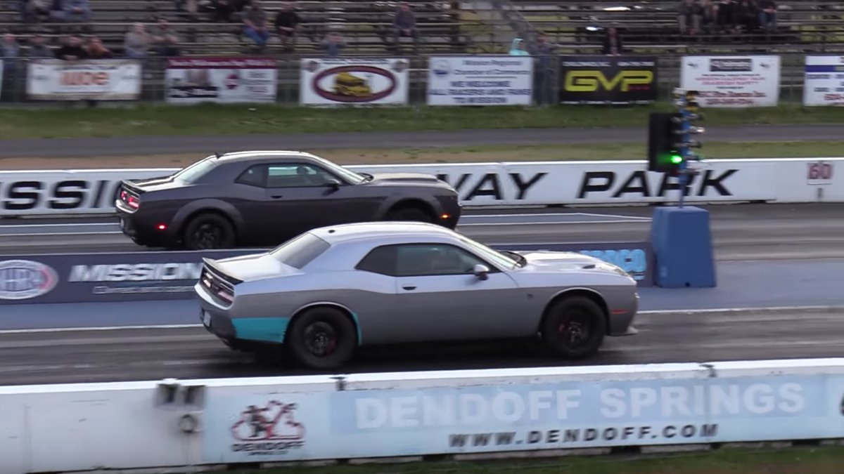 A Demon Versus Hellcat Drag Battle Is Just As Intense As You Think It Would Be
