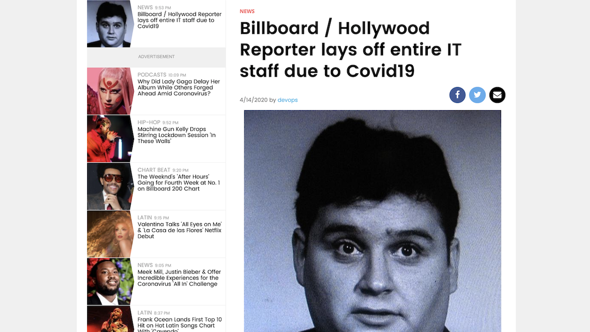 Workers at Hollywood Reporter and Billboard Vandalize Website After Getting Laid Off