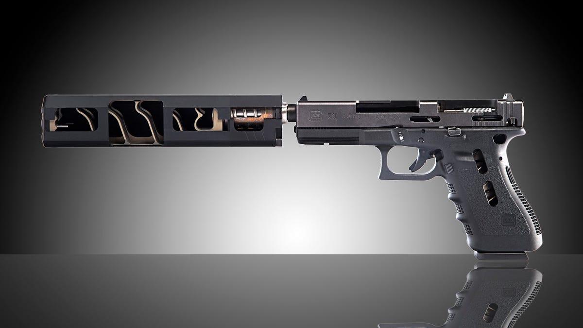 A gun silencer cut in half looks really weird inside