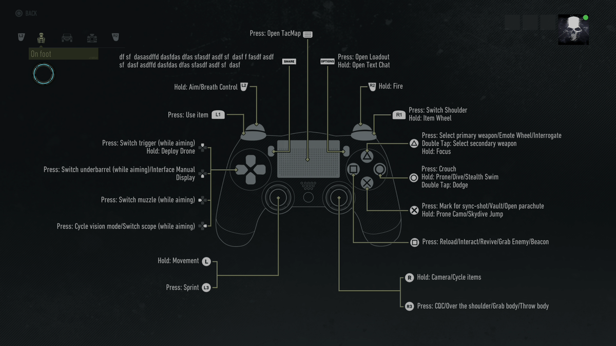 Ghost Recon Breakpoint PS4's Controller Menu Explains How To 'Dasfdas Dfas'