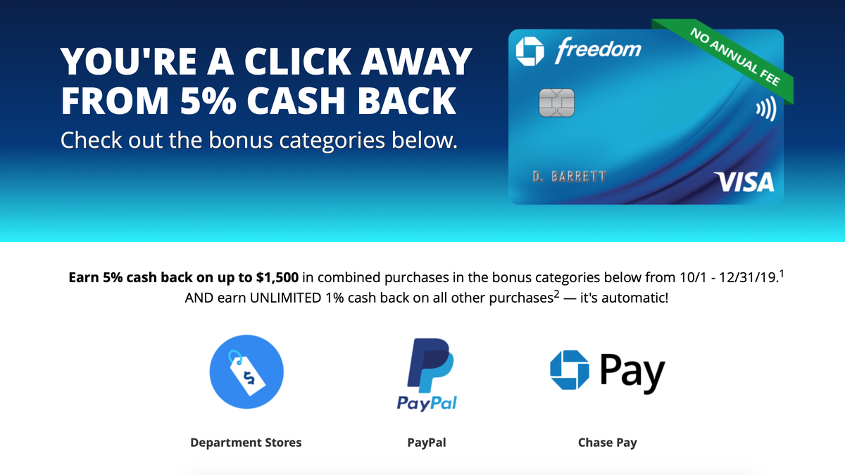 Get 5% Back On Paypal, Chase Pay, And Department Store