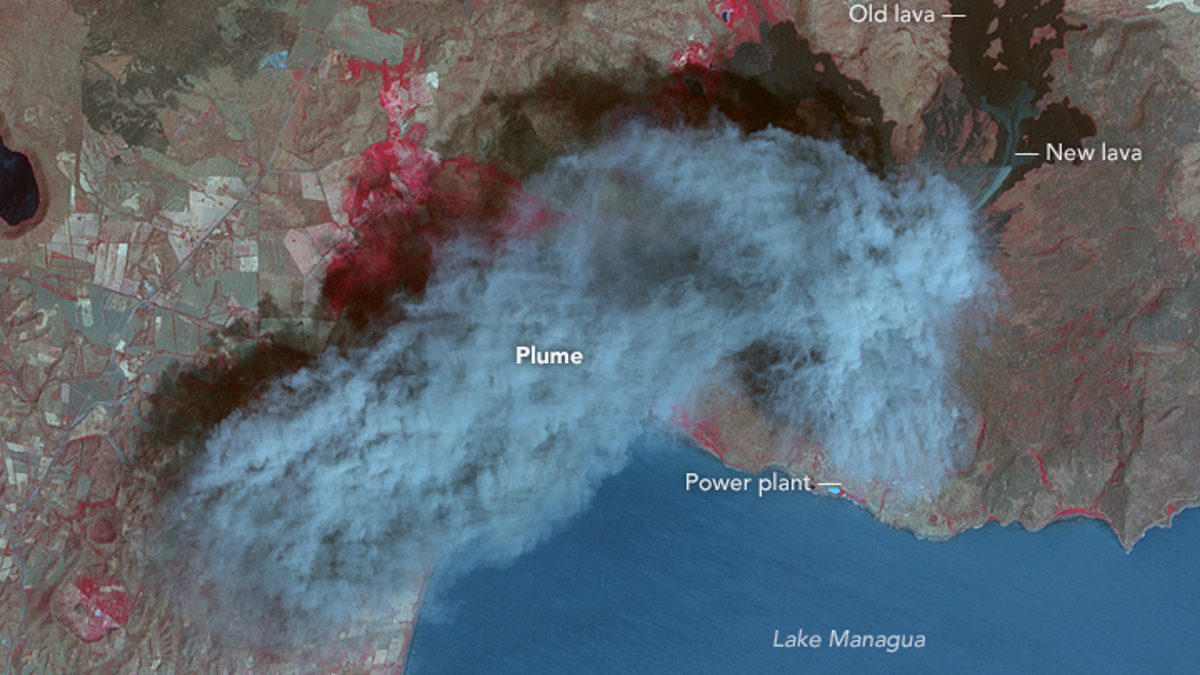 Nicaragua's Momotombo Volcano Is Glorious In False Color Satellite Imagery