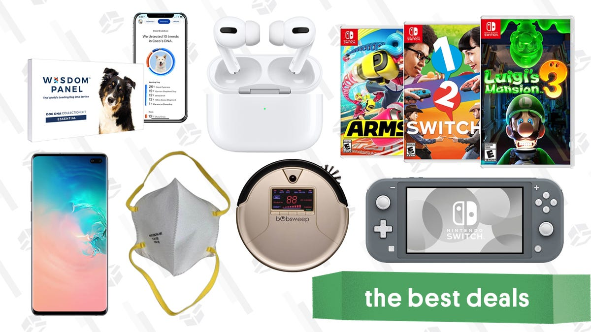 Wednesday's Best Deals: Apple AirPods Pro, Samsung Galaxy S10+, Nintendo Switch Digital Sale, N95 Masks, Pet DNA Test Kit, bObSweep Robot Vacuum, and More