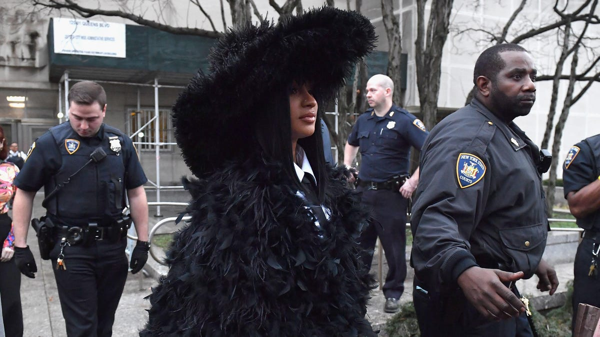 Cardi B's Coat of Many Feathers Is the Only Acceptable Outfit for Court