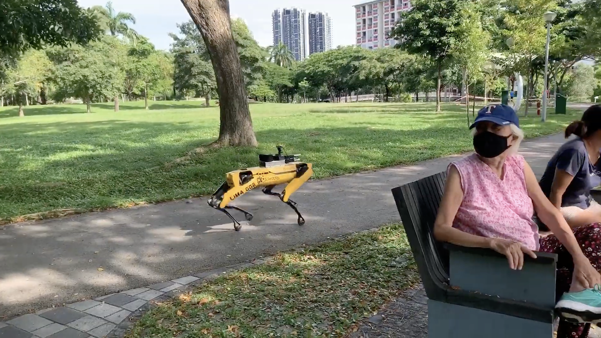 Pandemic Robots Deployed in Singapore Parks to Remind Humans of Their Own Mortality