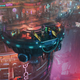 Four soldiers stand on an elevator on the mezzanine of a neon lit arcology in The Ascent