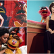 """Clockwise from top left: Alice Cooper with the """"School's Out"""" monsters, Rita Moreno with Animal, and Diana Ross with Fozzie Bear"""