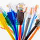 A bundle of multi-colored ethernet cables