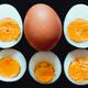 Hardboiled eggs cut in half