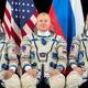 The MS-18 crew: Mark Vande Hei (left), Oleg Novitskiy (center), and Pyotr Dubrov.