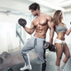 fitness models flexing