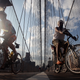 Cyclists ride across the Brooklyn Bridge during the evening commute Aug. 25, 2009 in New York City.