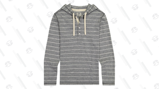 Grey Stripe Linen Blend Hooded Henley