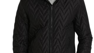 JACHS NY Black Herringbone Light Puffer Jacket