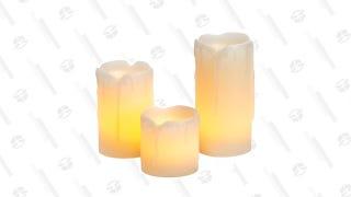 3 Piece Mini Drip Unscented Pillar Candle Set