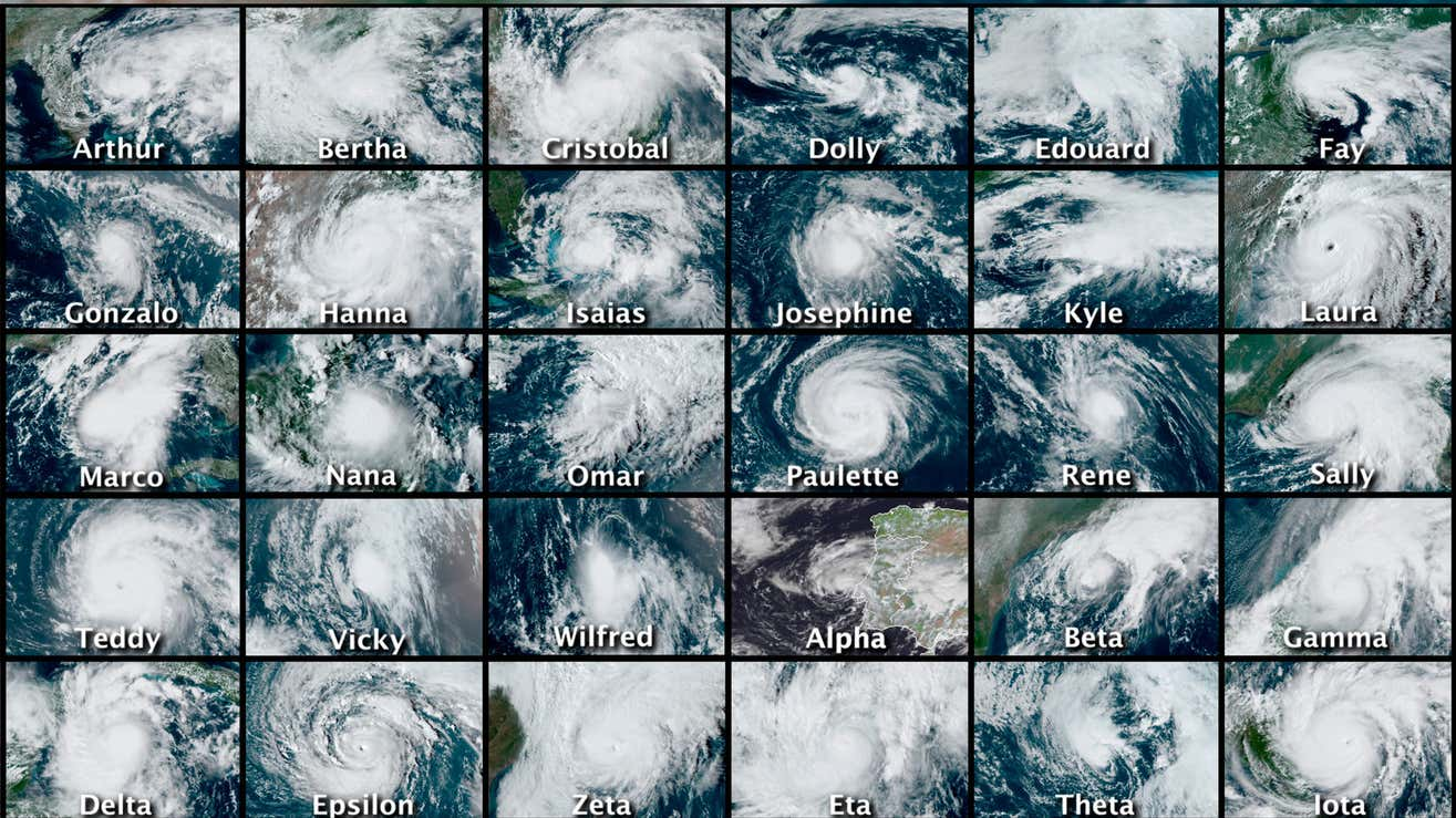 This combination of satellite images provided by the National Hurricane Center shows 30 hurricanes that occurred during the 2020 Atlantic hurricane season.