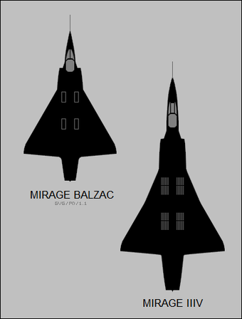 Plan-view silhouettes of the Dassault Balzac, and Dassault Mirage IIIV