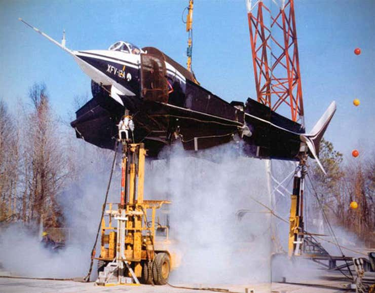 The XVF-12 undertaking tethered hover testing