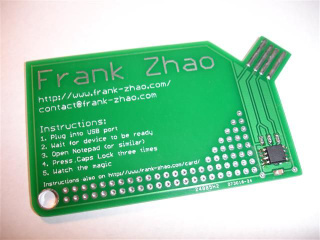 You wont mind pocketing a business card thats a working keyboard it already is using a atmega 16u2 so they could do touch sensing and then make the blank key positions simple areas of foil to sense touch colourmoves