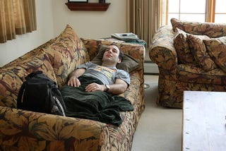 Houseguest Just Going To Lie There Until Rest Of House Wakes Up