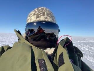 Glaciologist and SALSA team member Matt Siegfried takes an Antarctic selfie.