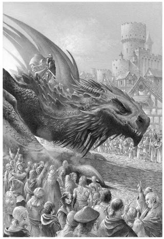 King Aegon I on Balerion the Black Dread