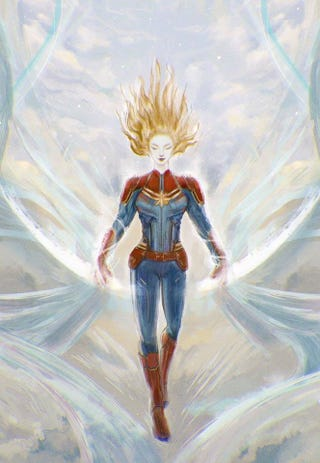 Captain Marvel in the Amano style.