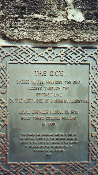 Plaque on the gates of the Castillo de San Marcos
