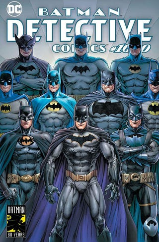 Illustration for article titled Batman celebrates his 80th birthday in iDetective Comics/i #1000, a star-studded anthology extravaganza