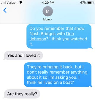 Illustration for article titled USA is bringing back iNash Bridges/i, so we asked our mom if she thought it was cool