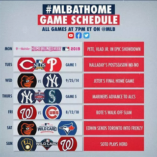 "Watch classic baseball games: Following its ""Opening Day at Home"" broadcasts from last week, where it broadcast 30 classic games that represented wins for each of the 30 MLB teams. MLB is streaming classic baseball games every night this week on its Twitter, Facebook, and YouTube pages. All of the games start at 7pm ET and are iconic games such as Jeter's Final Home Game, and Bote's Walk-Off Slam."