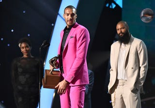 Defensive Player of the Year Rudy Gobert speaks onstage at the 2018 NBA Awards at Barkar Hangar on June 25, 2018, in Santa Monica, Calif.