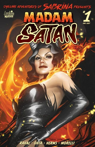The main and variant covers for Madam Satan.