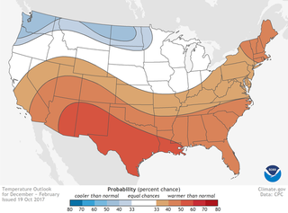 The winter temperature outlook for the Lower 48. Image: NOAA