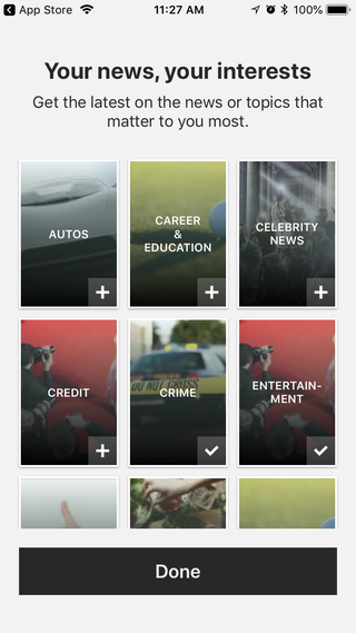 When you first launch the app, you'll pick your topics of interest.