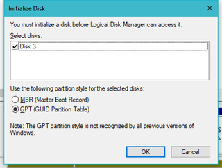 Since my new drive is larger than two terabytes, I had to use the GPT partition style instead of MBR.