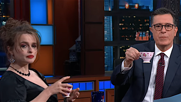 Helena Bonham Carter spills some delicious tea about her many co-stars on Stephen Colbert
