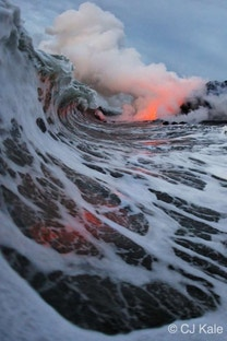Extremely dangerous lava surf photography is completely worth the risk