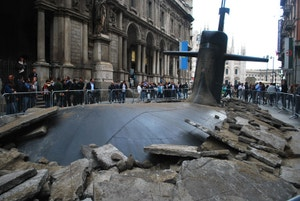 This Giant Submarine Destroying a City Street Is Actually an Ad