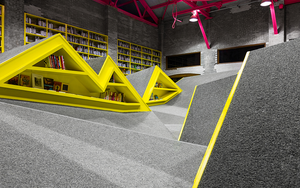 A Mountain Range of Shelves Turns This Kids' Library Into a Playground