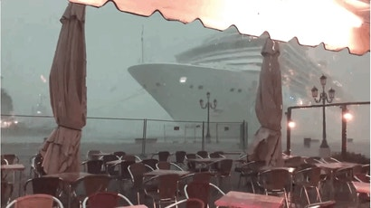 Massive Ocean Liner Appears From The Fog And Almost Crashes Into A Venice Dock