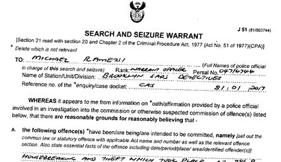 in 2017 police showed up with a search warrant looking for a stolen hp laptop image brooklyn south african police servicesaps john s