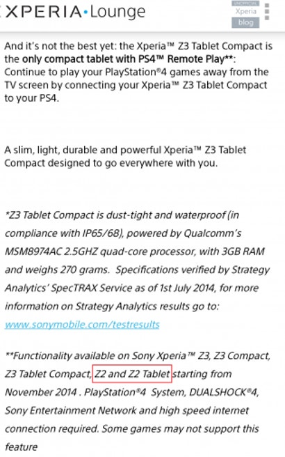 The Sony Xperia Z2 and Z2 Tablet May Also Get PS4 Remote Play