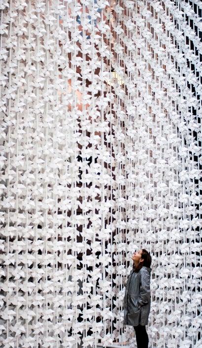 This Wall of Paper Pinwheels Turns Air Into Art