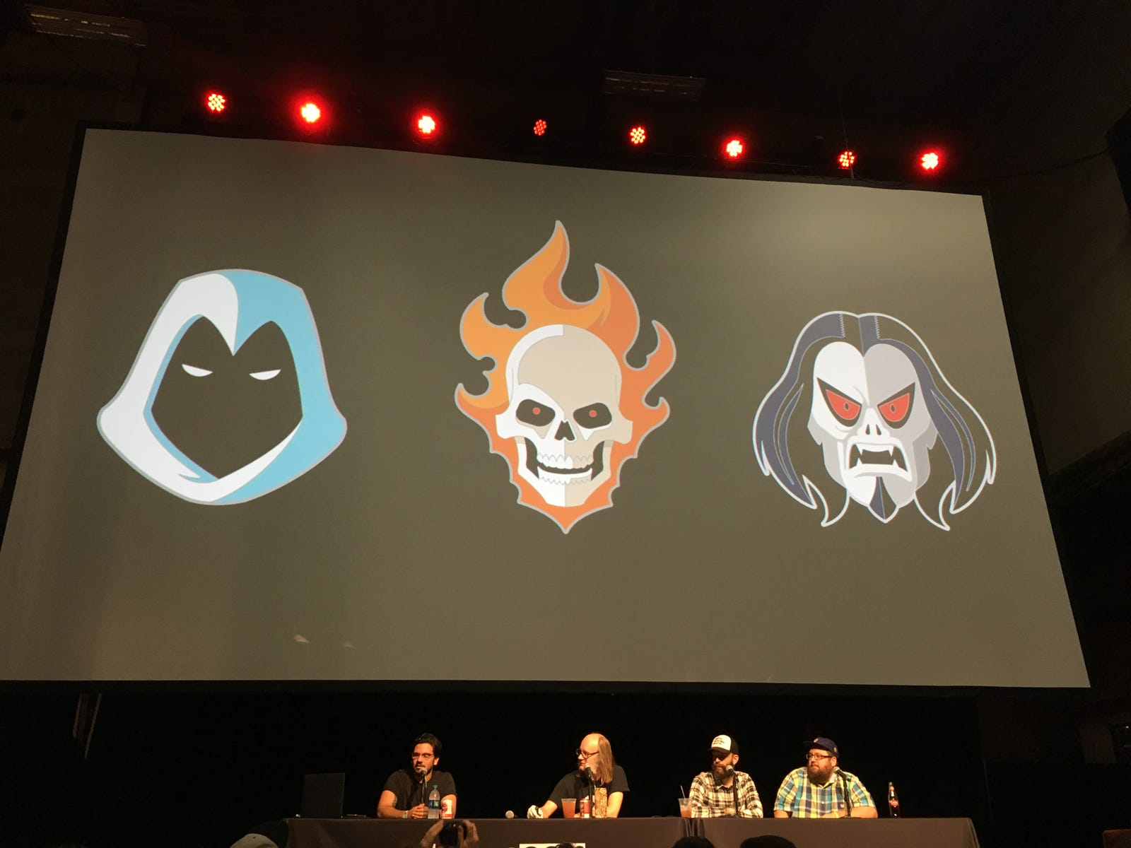 The Moon Night and Ghost Rider pins by Tom Whalen were released, but they canceled this Morbius because they didn't think it worked.